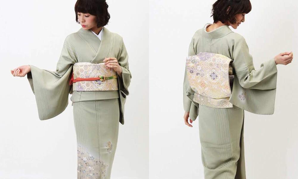 おすすめ訪問着レンタル | 正絹 薄緑色 桜模様色紙文_うぐいす色に金の帯