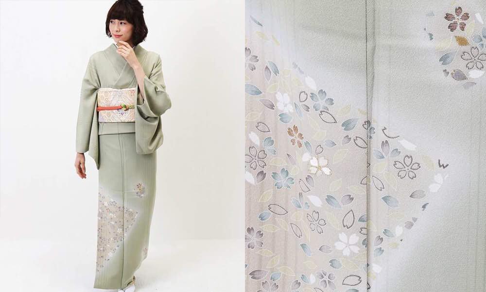 おすすめ訪問着レンタル | 正絹 薄緑色 桜模様色紙文_うぐいす色に桜