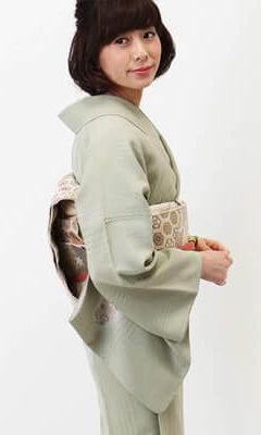 おすすめ訪問着レンタル | 正絹 薄緑色 桜模様色紙文