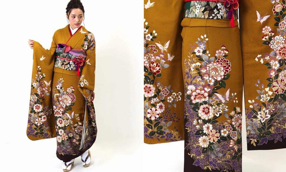 おすすめ振袖レンタル | 金茶色に紫の花 華やかな草花_蝶の意味