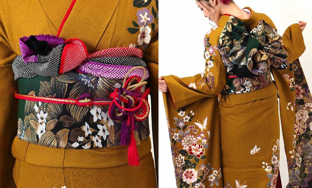 おすすめ振袖レンタル | 金茶色に紫の花 華やかな草花_牡丹と蝶