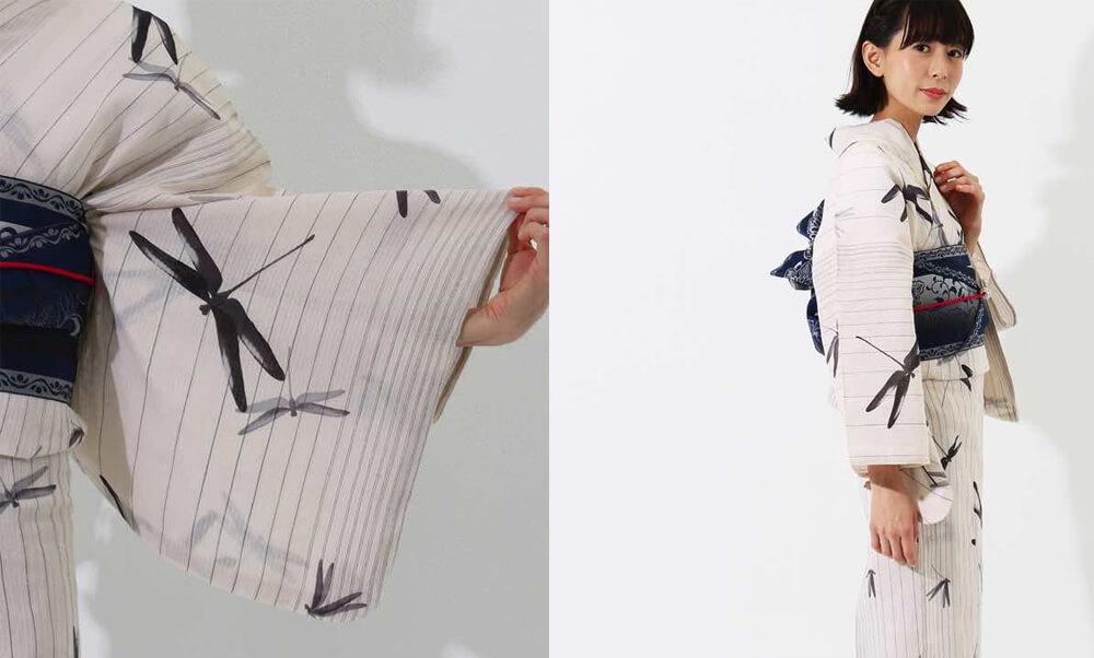 おすすめレディース浴衣 | 【夢工房】白地に縦縞と蜻蛉_黒の蜻蛉