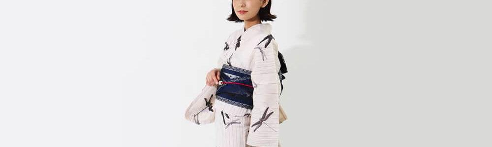 おすすめレディース浴衣 | 【夢工房】白地に縦縞と蜻蛉