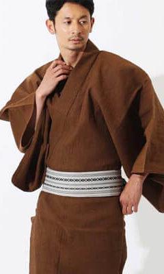 おすすめメンズ浴衣レンタル | 茶色無地 シャンブレー綿麻 |【一秀】茶色地に点描の十字模様