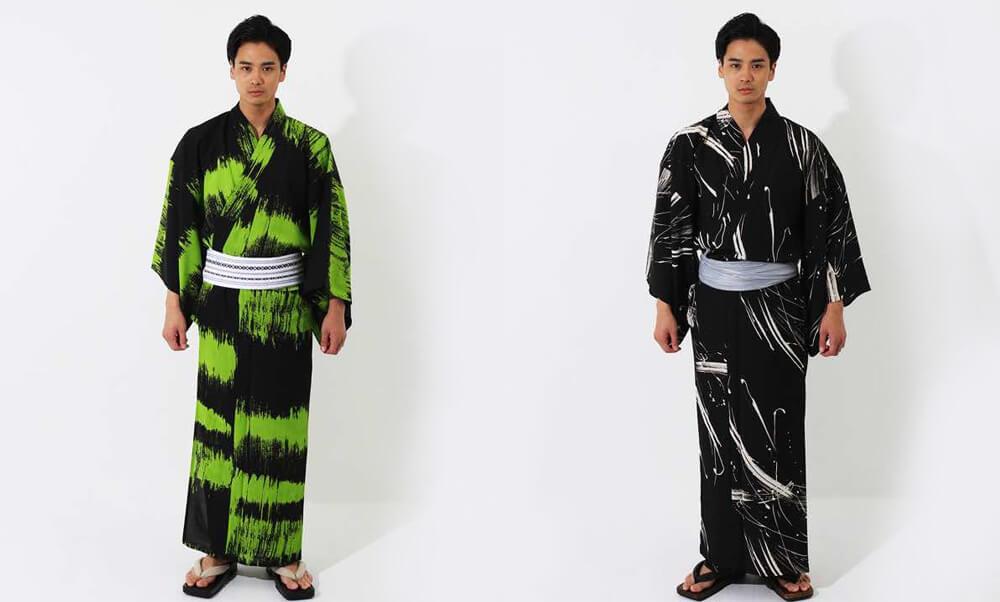 おすすめメンズ浴衣レンタル | 【JUNKO KOSHINO】黒地に緑色のラフボーダー | 黒地に白のインク模様_かっこいい