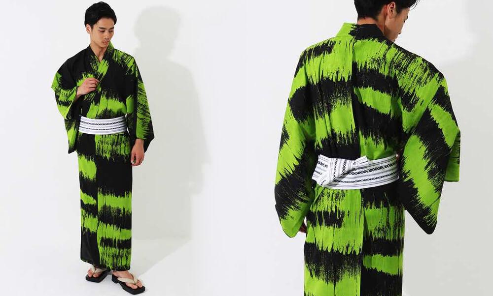 おすすめメンズ浴衣レンタル | 【JUNKO KOSHINO】黒地に緑色のラフボーダー | 黒地に白のインク模様_黒と緑