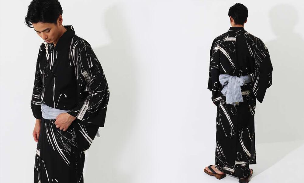 おすすめメンズ浴衣レンタル | 【JUNKO KOSHINO】黒地に緑色のラフボーダー | 黒地に白のインク模様_黒と白