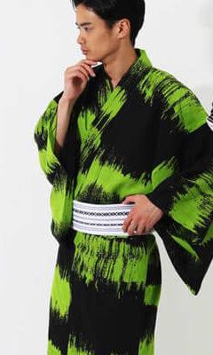おすすめメンズ浴衣レンタル | 【JUNKO KOSHINO】黒地に緑色のラフボーダー | 黒地に白のインク模様