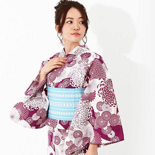 浴衣 | 白×小豆色の菊づくしのシックな綿麻