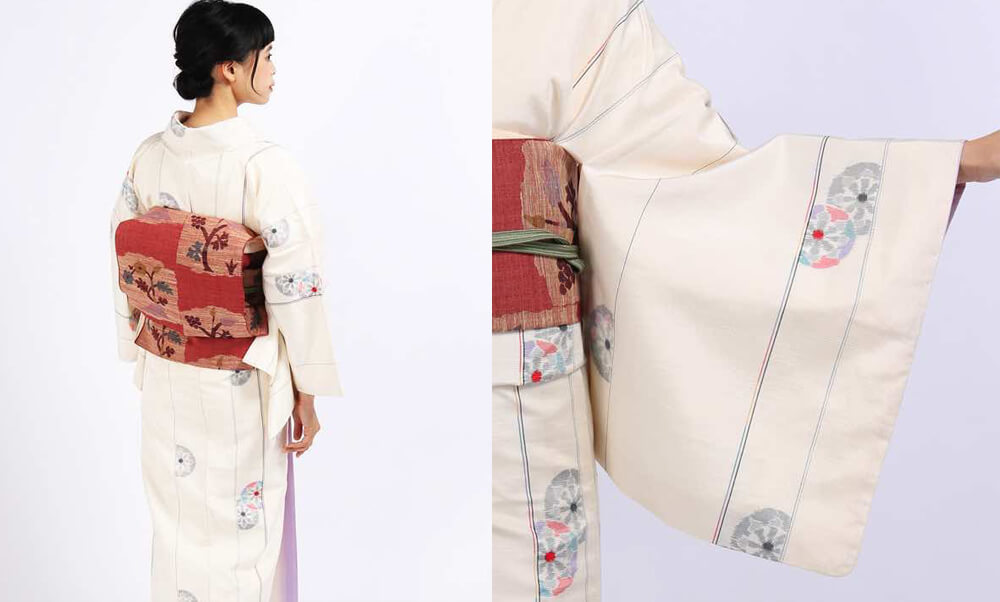 おすすめお洒落着物レンタル | クリーム色紬地に縦縞と源氏車 赤地に花樹木モチーフの帯_アンティーク着物