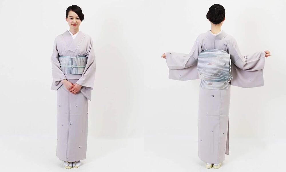 おすすめ夏着物・単衣レンタル | 正絹 アイボリー斜め縞柄 | 薄紫色 瓢箪柄_9月の秋色の単衣