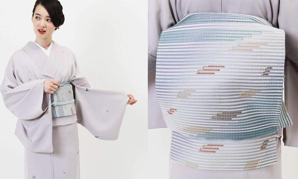 おすすめ夏着物・単衣レンタル | 正絹 アイボリー斜め縞柄 | 薄紫色 瓢箪柄_9月の秋色の帯