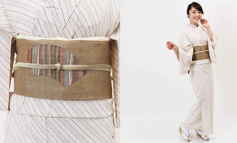おすすめ夏着物・単衣レンタル | 正絹 アイボリー斜め縞柄 | 薄紫色 瓢箪柄_9月の秋らしい色合い