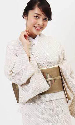 おすすめ夏着物・単衣レンタル | 正絹 アイボリー斜め縞柄 | 薄紫色 瓢箪柄