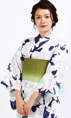 おすすめレディース浴衣レンタル | 水色×青地に百合 緑地グラデーションの帯