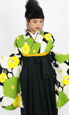 おすすめhao卒業式袴レンタル | 【HAO】牡丹の咲き比べ_グリーン・オレンジ・紫