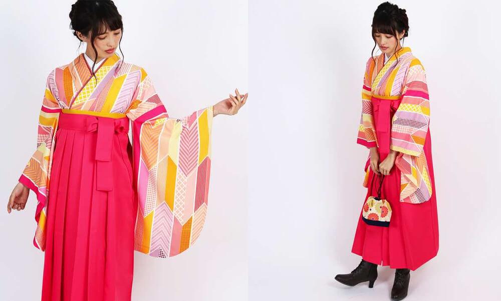 おすすめ卒業式袴レンタル | 【HAO】色遊び矢絣 ピンク・黒・赤_お洒落矢絣のピンク
