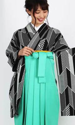 おすすめ卒業式袴レンタル | 【HAO】色遊び矢絣 ピンク・黒・赤