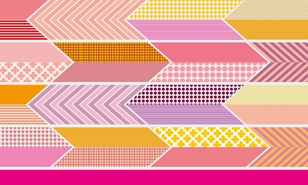 おすすめ卒業式袴レンタル | 【HAO】色遊び矢絣 ピンク・黒・赤_お洒落矢絣