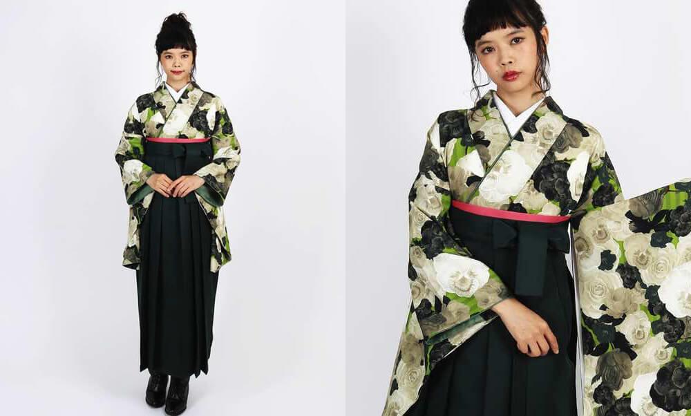 おすすめHAO・卒業式袴レンタル |【HAO】パンジーの花屋_黄緑とグリーンにパンジーとビオラ