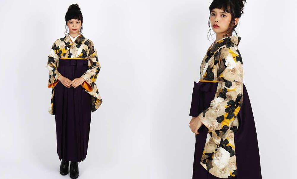 おすすめHAO・卒業式袴レンタル |【HAO】パンジーの花屋_オレンジと山吹色にパンジーとビオラ