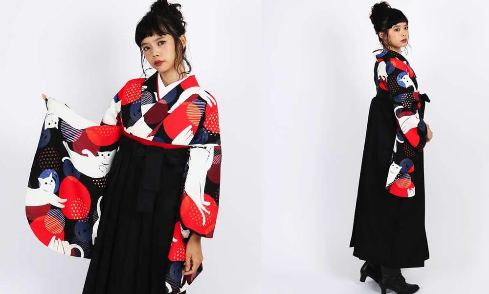 おすすめ卒業式袴レンタル | 【HAO】毛糸に遊び猫 | 【HAO】白い猫と○_黒と赤