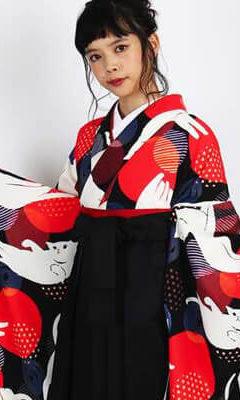 おすすめ卒業式袴レンタル | 【HAO】毛糸に遊び猫 | 【HAO】白い猫と○