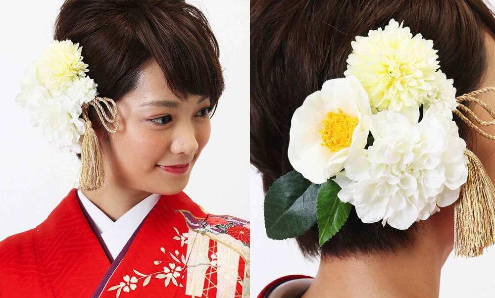 おすすめ髪飾りレンタル | HanaMaryの髪飾り | ホワイトダリアと白椿