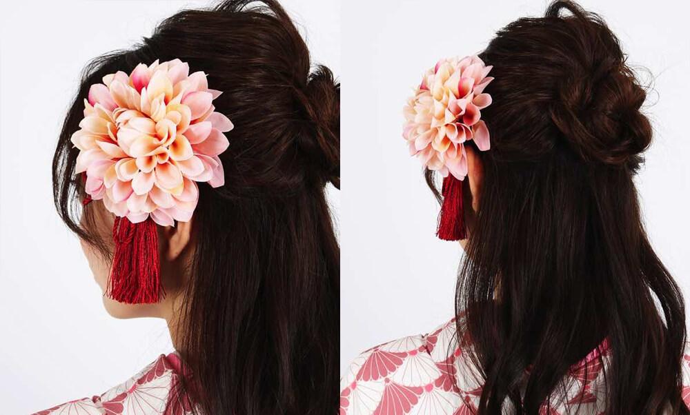 おすすめ髪飾りレンタル | HanaMaryの髪飾り淡桃色ダリア×タッセル