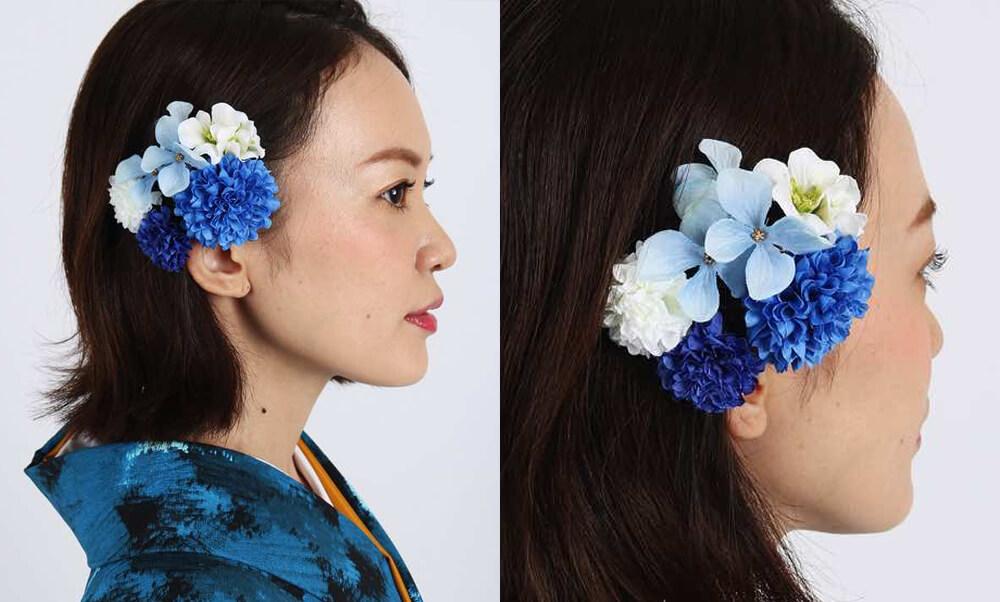 おすすめ髪飾りレンタル | HanaMaryの髪飾り | 青マムと淡空ハイドランジア