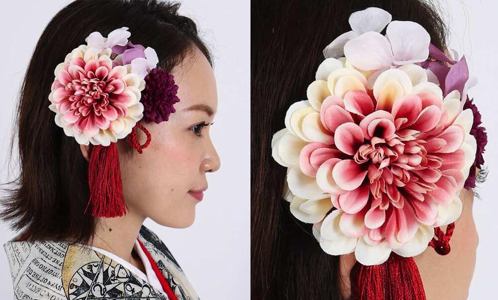 おすすめ髪飾りレンタル | HanaMaryの髪飾り | グラデーションダリアと紫マム