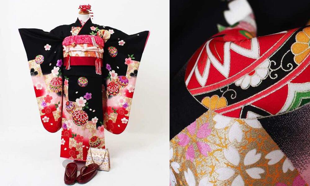おすすめ七五三(七歳)レンタル | 正絹 黒、赤、ピンク地に鞠と市松_黒に正絹の桜