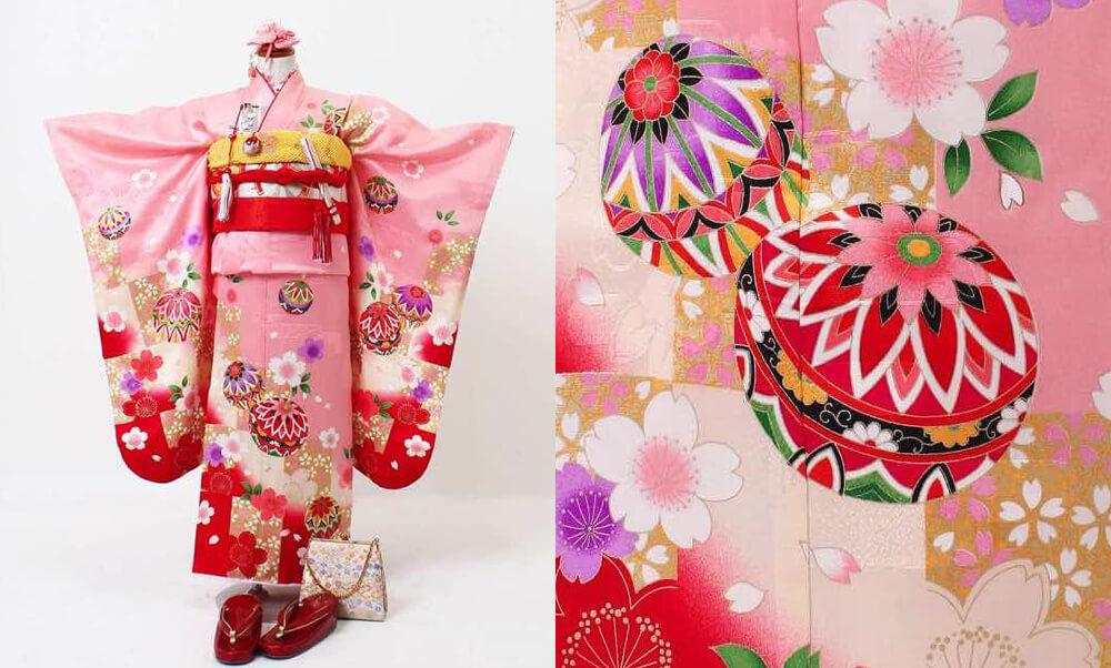 おすすめ七五三(七歳)レンタル | 正絹 黒、赤、ピンク地に鞠と市松_ピンクに桜