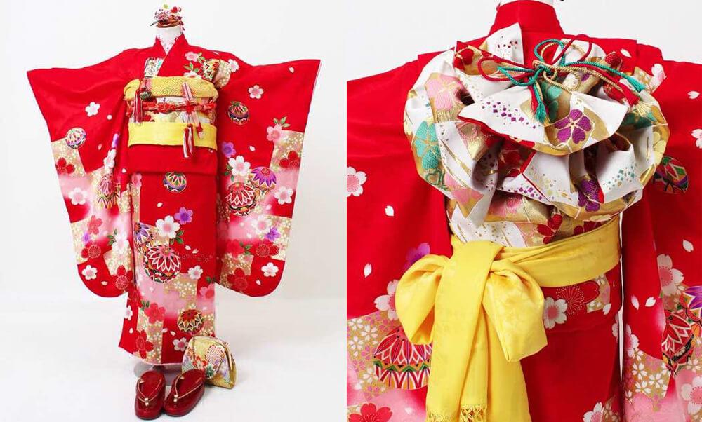 おすすめ七五三(七歳)レンタル | 正絹 黒、赤、ピンク地に鞠と市松_赤に正絹の桜