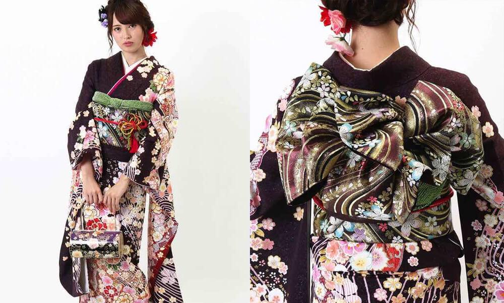 おすすめ振袖レンタル | 焦げ茶に金通し 牡丹と桜に波文様_金彩の帯