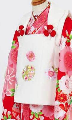 おすすめ七五三(三歳)レンタル | 鞠と花々・水色・赤・クリーム色