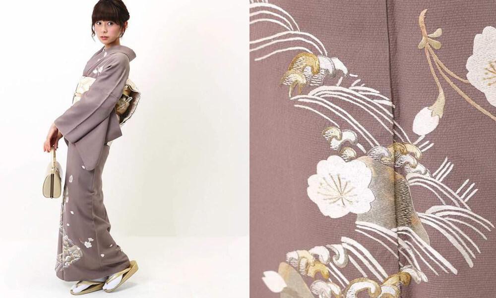 おすすめ訪問着レンタル | 正絹 銀煤竹色(ぎんすすたけいろ) 波文様 桜の花刺繍_七五三・入学式・卒業式におすすめ桜
