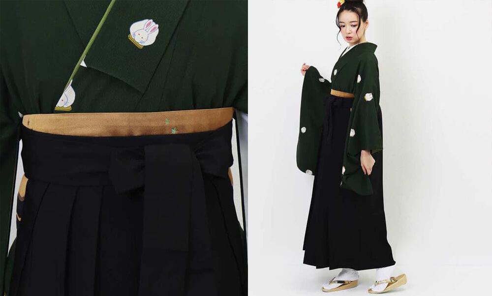 おすすめ卒業式袴レンタル | 緑青遊兎 緑色にクールな黒い袴