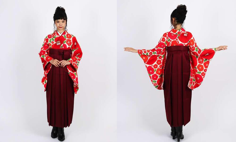 卒業式袴レンタル | 【HAO】椿の花束 赤 黄色_シミラールックや双子コーデ 赤
