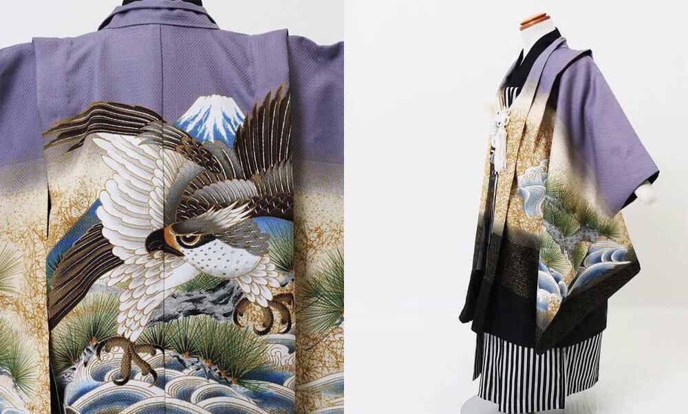 おすすめ七五三(五歳)レンタル | 藤色地 金松に海 富士と大鷹 今年人気の淡い紫と勇ましい鷹