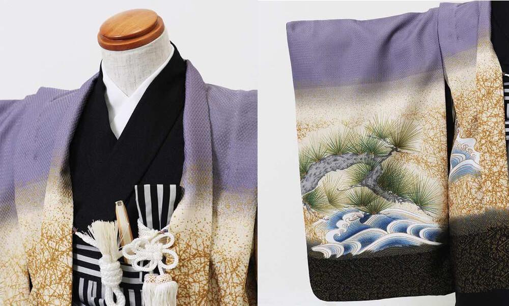 おすすめ七五三(五歳)レンタル | 藤色地 金松に海 富士と大鷹 今年人気の淡い紫と上品