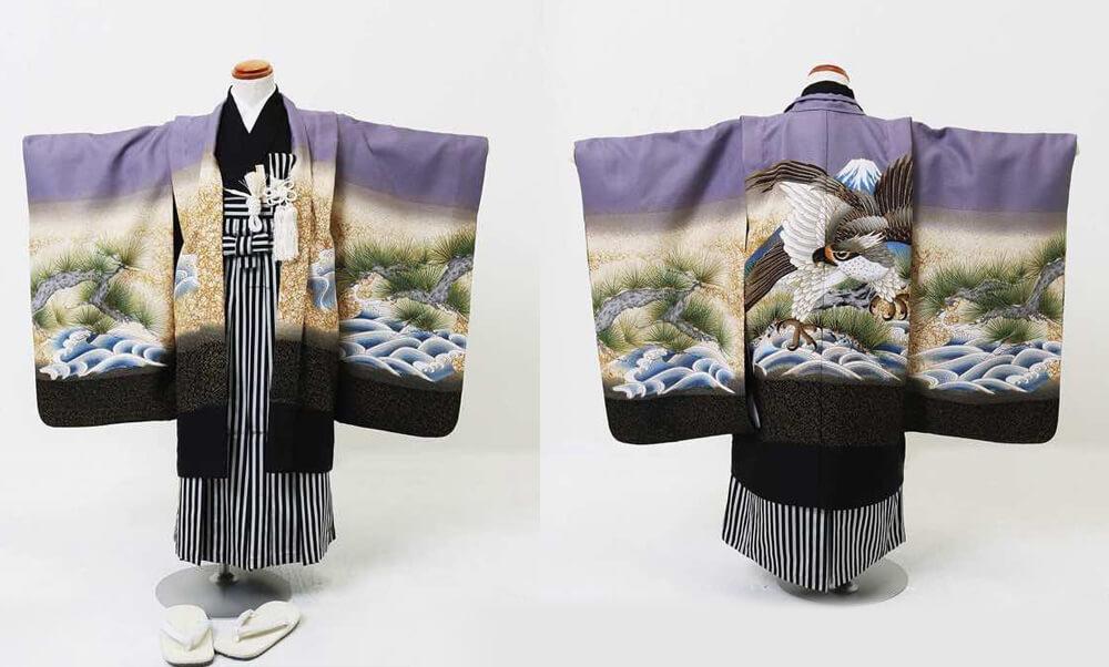 おすすめ七五三(五歳)レンタル | 藤色地 金松に海 富士と大鷹 人気の淡い紫