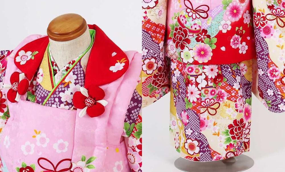 おすすめ七五三(三歳)レンタル | 鞠/花 絞り風黄色地 ピンク×赤被布_ピンクの被布