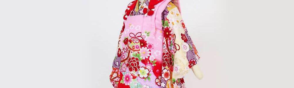 おすすめ七五三(三歳)レンタル | 鞠/花 絞り風黄色地 ピンク×赤被布