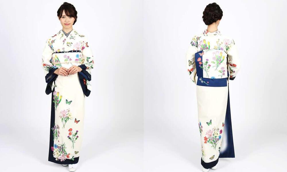 おすすめMarMu訪問着レンタル | LadyGarden・NightGarden・ドット | 親子コーデにおすすめの着物「アイボリー色に紺色のラインと花々」