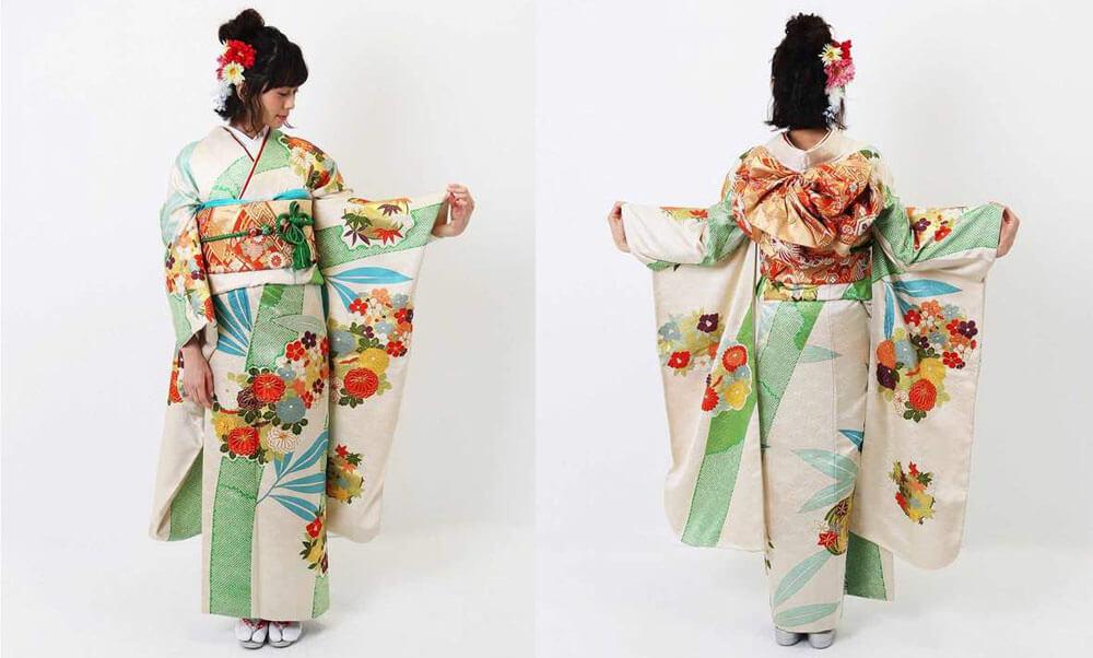 おすすめ振袖レンタル | 淡いクリーム地に竹絞り 菊文様に金刺繍 人気の古典柄を可愛らしく爽やかに着れる振袖