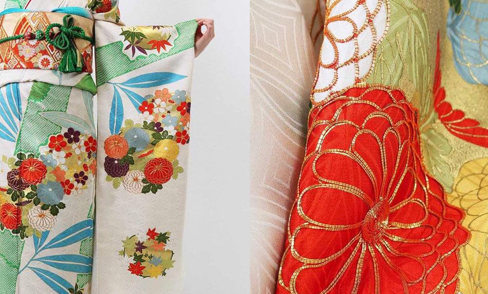 おすすめ振袖レンタル | 淡いクリーム地に竹絞り 菊文様に金刺繍 人気の古典柄の振袖を竹と菊に施された刺繍が美しく彩ります