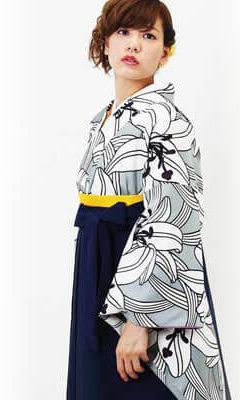 おすすめ卒業式袴レンタル | 黒地になでしこ | 紫百合 | 【HAO】椿の花束 花言葉で着る卒業式袴
