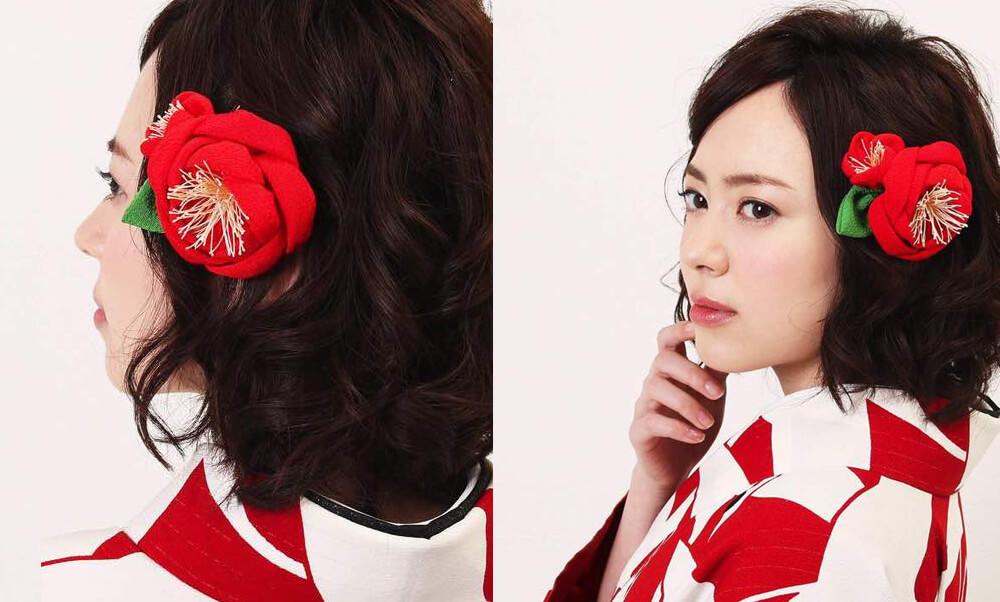 髪飾りレンタル | 正絹の赤椿・黒鞠につまみ花・黒牡丹にベール・白ダリアにマムとデルフィニウム_赤い卒業式袴におすすめヘアアレンジ