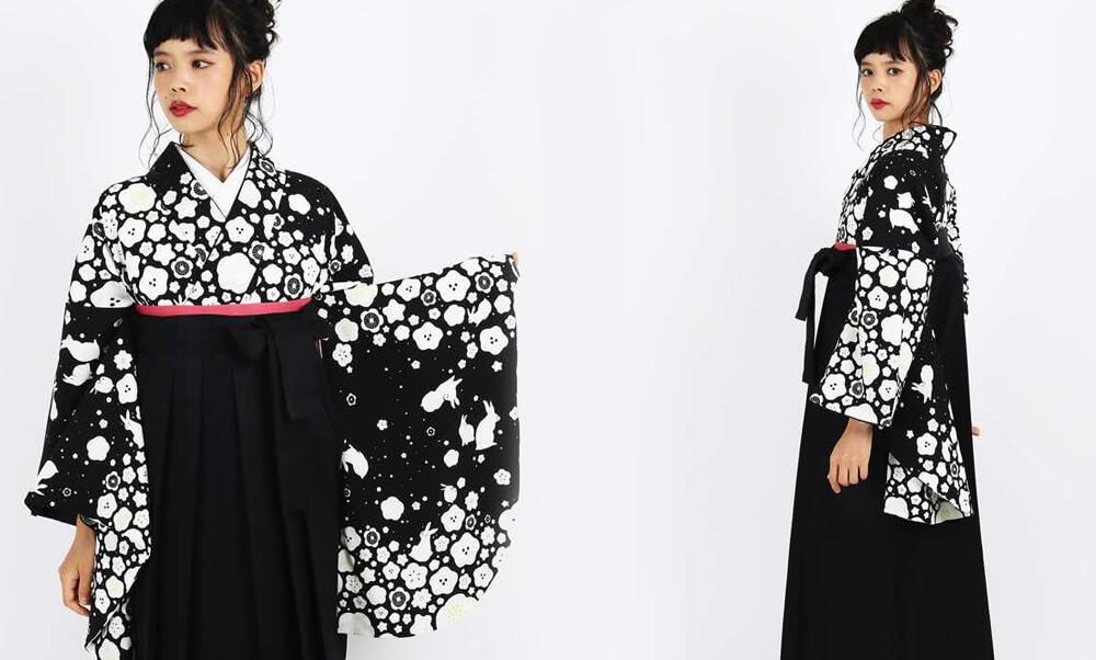 おすすめ卒業式袴レンタル | 【HAO】雪になった兎 ピンク 黒 うさぎの縁起 黒の着物に白の雪 梅と桜の雪とモノトーン